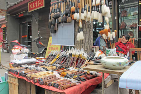 Large brushes for calligraphy, Market in China. Xi'an City. Publikacyjne