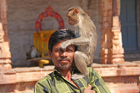 India, Hampi, 01 February 2018. The monkey sits on the shoulder of an Indian man. Close-up portrait.