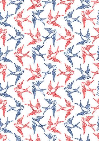 azul marino: Papel n�utico digital, pintado a mano, Seamless, azul marino, rojo