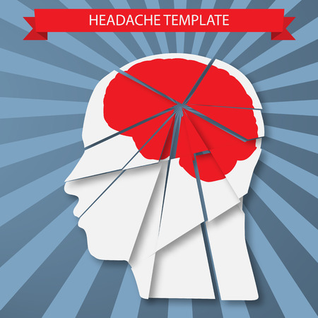 Vector illustration of headache, migraine or psychology concept Illustration