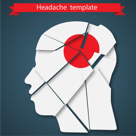 Headache. Silhouette of human head with red point Vector