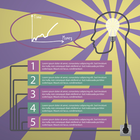 Template infographic. Concept of modern business. Human head with the brain, business icons, plug, socket Vector