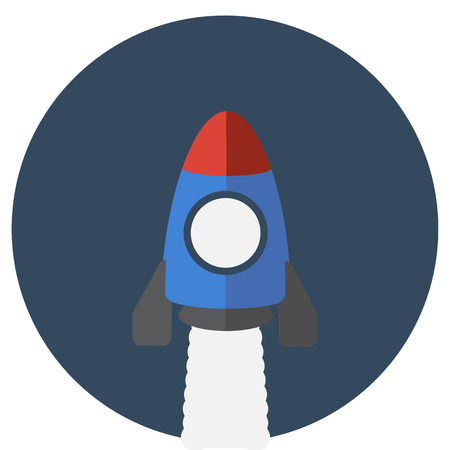 booster: bande dessin�e fus�e dans le ciel