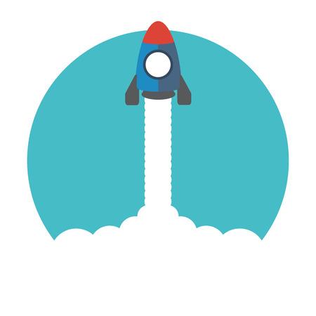 lift up: cartoon rocket ship in the sky