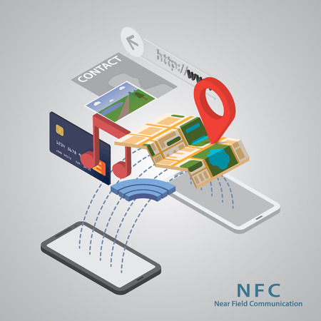 nfc: Vector illustration of smartphone with nfc function and mobile tag