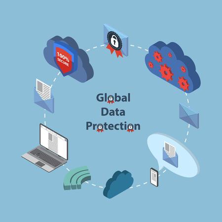 virus informatico: Protección de datos y de trabajo seguro. Diseño plano EPS10 isométrica.