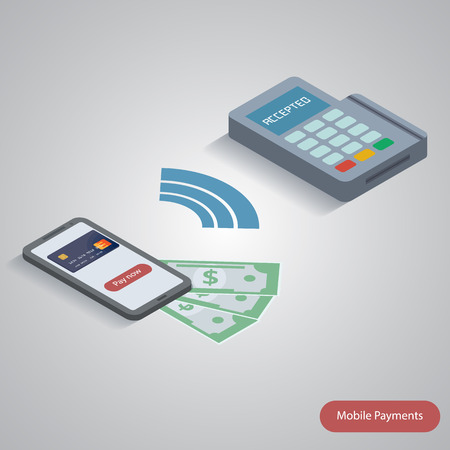 nfc: illustration of smartphone with nfc function and mobile tag