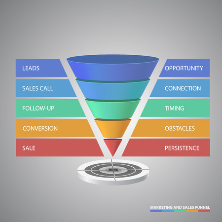 funnel: Vector infographic or web design templateFlat 3d isometric computerized technology