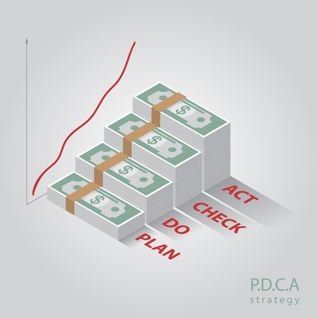 lifecycle: Vector isometric PDCA  diagram, schema.  Illustration