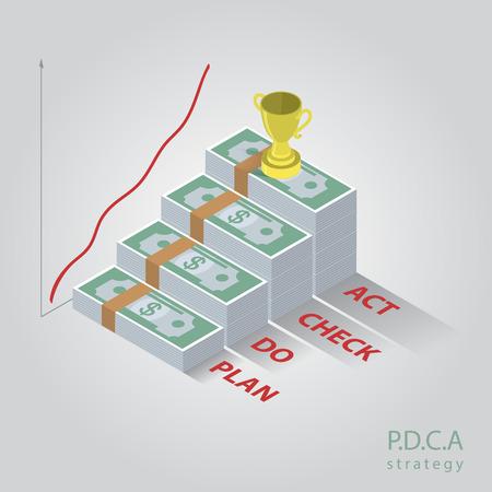 lifecycle: Vector isometric PDCA  diagram, schema. EPS10 illustration
