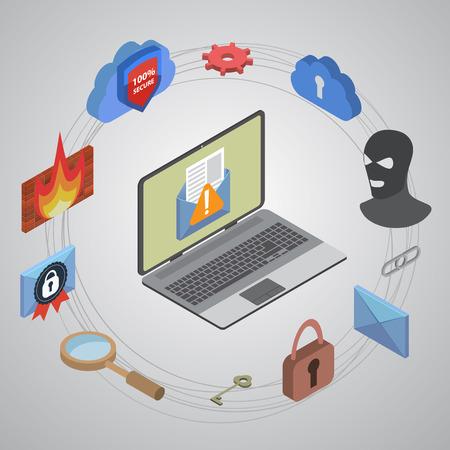 protected database: Protecci�n de datos y de trabajo seguro. Dise�o plano EPS10 isom�trica.