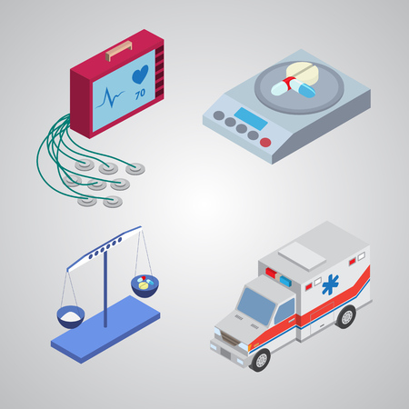 inspection: Flat design isometric style modern vector illustration icons set of medical inspection