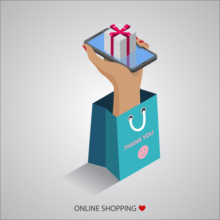 flat design vector illustration concepts of online shopping 일러스트