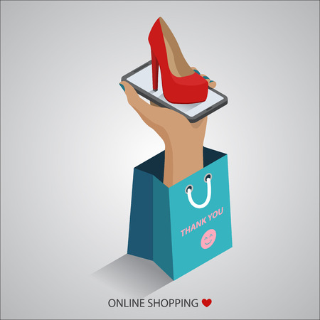 flat design vector illustration concepts of online shopping 向量圖像