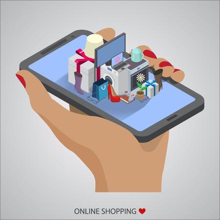 オンライン ショッピングのフラット デザイン ベクトル図の概念  イラスト・ベクター素材