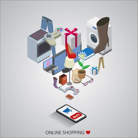 Flaches Design Vektor-Illustration Konzepte von Online-Shopping- Standard-Bild - 38119596