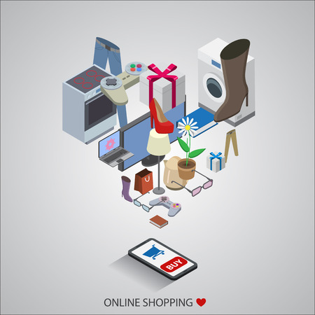 flat design vector illustration concepts of online shopping Ilustração