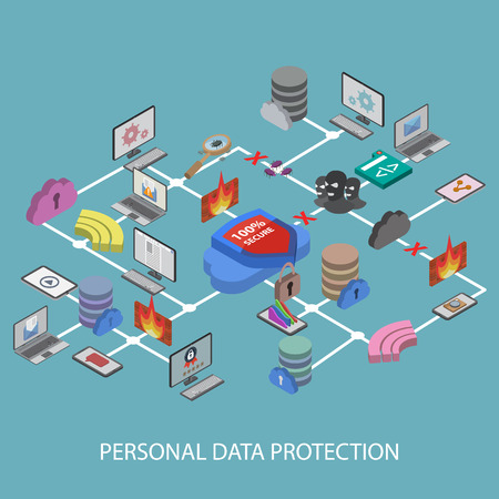 protected database: Data protection and safe work. Flat design isometric EPS10.
