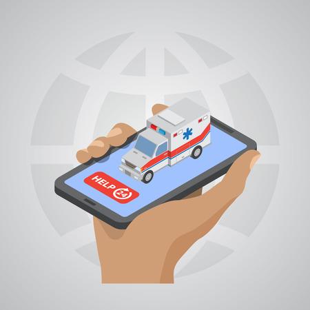 ambulancia: ilustraci�n de Ambulancia vector EPS10 isom�trica estilo plano