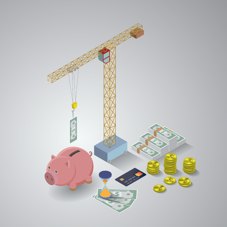 thrift box: Isometric  illustration of business tools. EPS10 vector Illustration