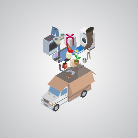 Process of delivery. Isometric vector illustration EPS10 vector Vector
