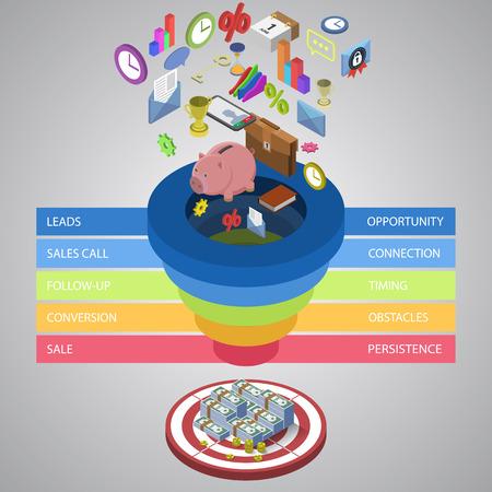 diagrama de procesos: Ventas plantilla embudo para su presentación de negocios EPS10 vector isométrica