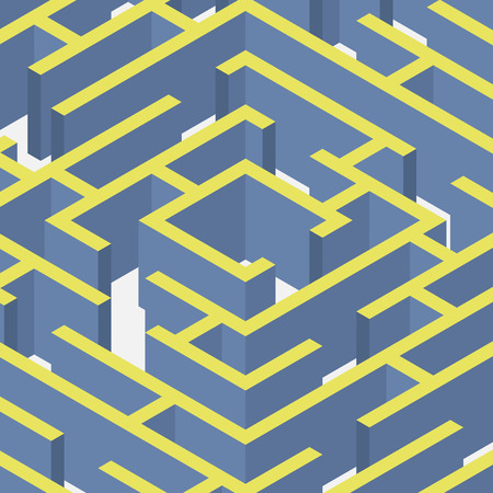 leading the way: 3D labyrinth Isometric flat style vector illustration EPS10