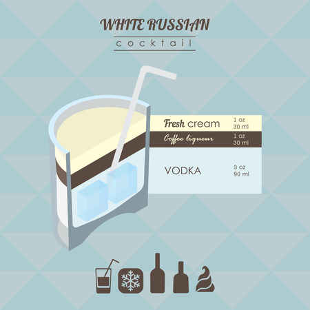 white russian: flat styled isometric illustration of cocktail. White russian alcohol drink
