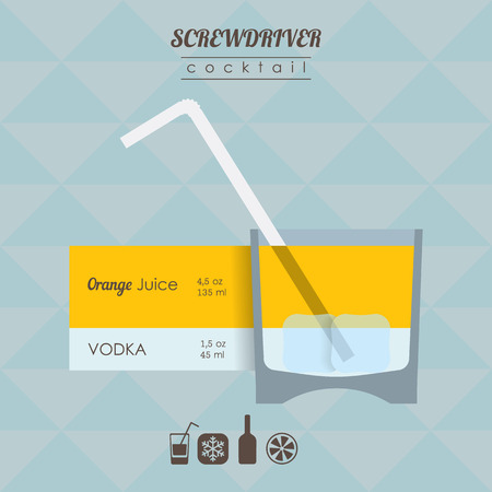 alcohol screwdriver: flat styled  illustration of cocktail. Screwdriver alcohol drink