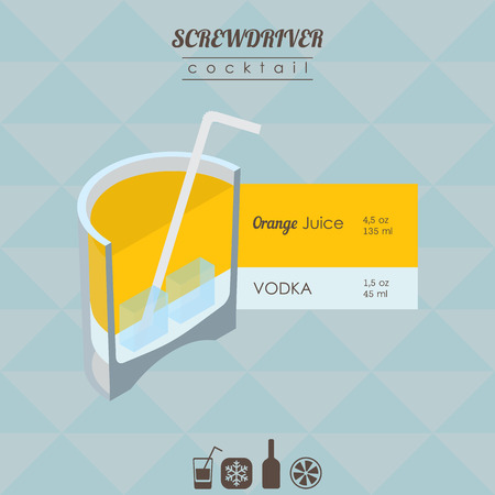 alcohol screwdriver: flat styled isometric illustration of cocktail. Screwdriver alcohol drink Illustration