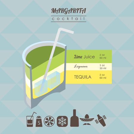 margarita drink: flat styled isometric illustration of cocktail. Margarita alcohol drink