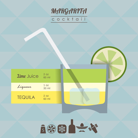 margarita drink: flat styled  illustration of cocktail. Margarita alcohol drink