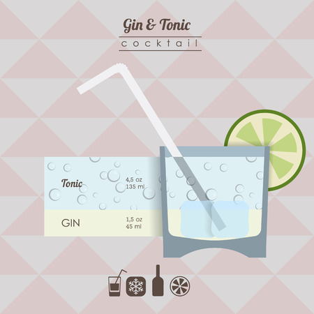gin: flat styled  illustration of cocktail. gin and tonic alcohol drink