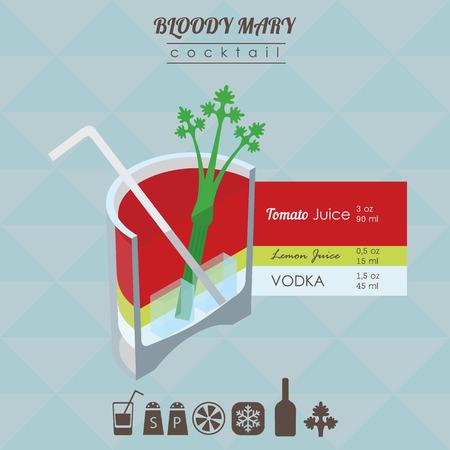 coctel de frutas: ilustración isométrica de estilo plana de cóctel. Bloody bebida de alcohol María