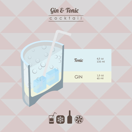 tonic: flat styled isometric illustration of cocktail. gin and tonic alcohol drink Illustration