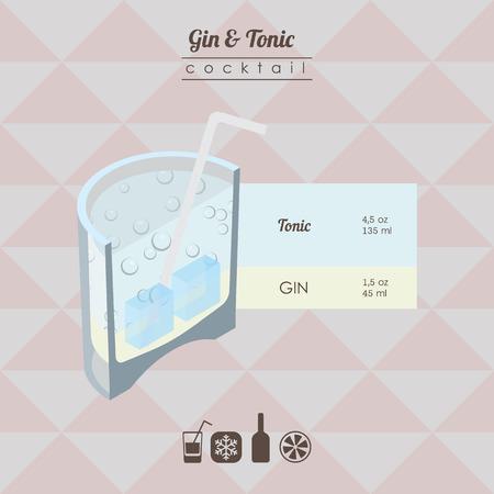 ilustración isométrica de estilo plana de cóctel. ginebra y tónica bebida de alcohol