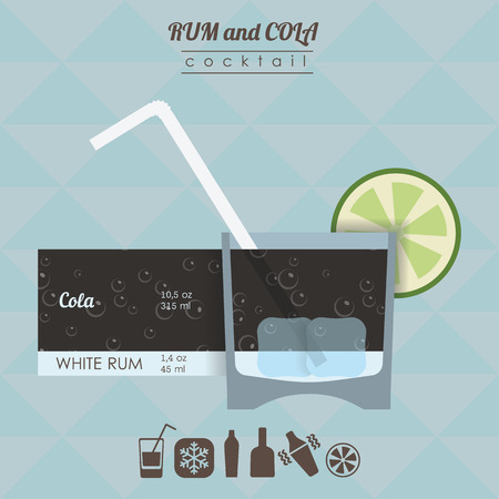 rum: flat styled  illustration of cocktail. Rum and cola  alcohol drink