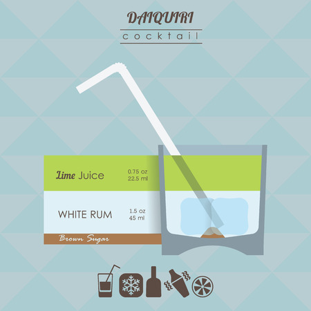 daiquiri alcohol: flat styled isometric illustration of cocktail. Daiquiri alcohol drink Illustration