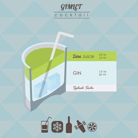 gimlet: flat styled isometric illustration of cocktail. Gimlet alcohol drink Illustration