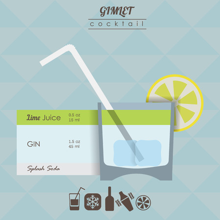 gimlet: flat styled  illustration of cocktail. Gimlet alcohol drink Illustration