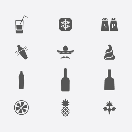 champagne orange: Drink alcohol beverage icons set flat illustration, mexican margarita,  pineapple, lemon, shaker, cream, pepper, celery, vodka