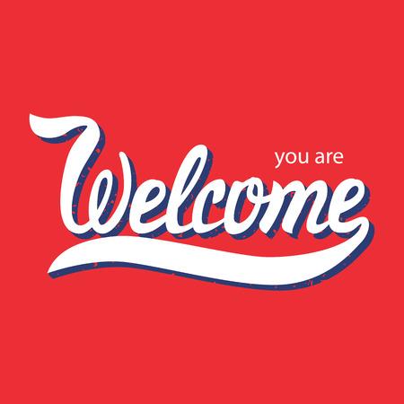 Vektor-Illustration mit Hand gezeichnet Wörtern. Willkommen Poster oder Postkarte. Kalligraphische Inschrift. Brush Script Kalligraphie. Typografische Handwritten Hand Buchstaben Begriff Standard-Bild - 43253295