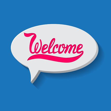 Vektor-Illustration mit Hand gezeichnet Wörtern. Willkommen Poster oder Postkarte. Kalligraphische Inschrift. Brush Script Kalligraphie. Typografische Handwritten Hand Buchstaben Begriff Standard-Bild - 43255746