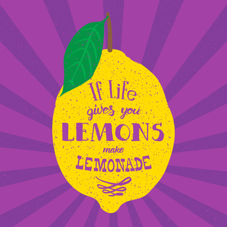 Motivation quote. Vector illustration with hand-drawn words. If life gives you lemons, make lemonade poster or postcard. Calligraphic  inscription. Brush Script Calligraphy.