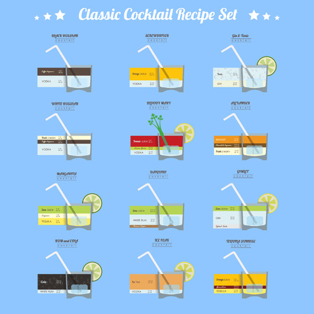 Cocktail recipe set.  12 alcoholic cocktails vector illustration collection in trendy flat design style with recipe measurements Ilustração