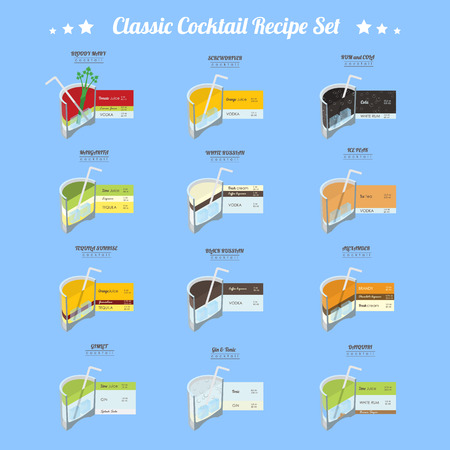 Cocktail recipe set.  12 alcoholic cocktails vector illustration collection in trendy isometric flat design style with recipe measurements 일러스트
