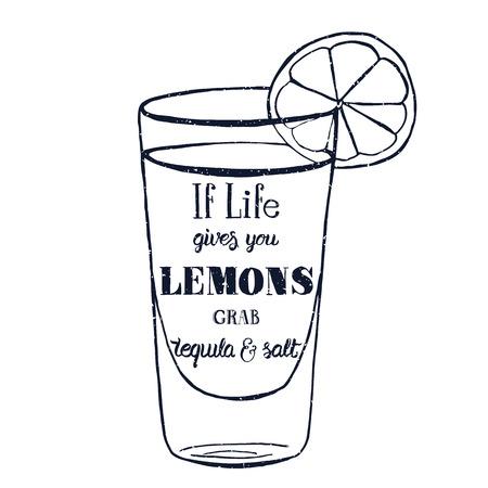 limón: Cita de motivaci�n. Ilustraci�n vectorial con palabras dibujadas a mano. Si la vida te da limones, tequila agarrar y carteles sal o postal. Inscripci�n caligr�fica. Brush Script caligraf�a. Vectores