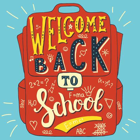 acogida: Ilustraci�n vectorial con palabras dibujadas a mano en la bolsa de la escuela. Bienvenido de nuevo al colegio. Caligraf�a y la inscripci�n de la tipograf�a. Reg�strate pintura de estilo vintage. Versi�n colorida