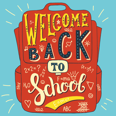 back to school supplies: Vector illustration with hand-drawn words on school bag. Welcome back to school. Calligraphy and typography inscription. Sign painting vintage style. Colorful version
