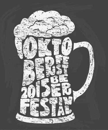 crafted: Oktoberfest 2015 beer festival. Handmade Typographic Art for Poster Print Greeting Card T shirt apparel design, hand crafted vector illustration. Illustration